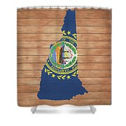 New Hampshire Rustic Map On Wood Shower Curtain