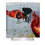 New Harmony Roosters Shower Curtain