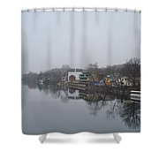 New Hope River View On A Misty Day Shower Curtain