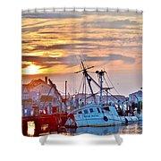 New Hope Sunrise - Sunken Ship At West Ocean City Harbor Shower Curtain