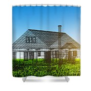 New House Wireframe Project On Green Field Shower Curtain