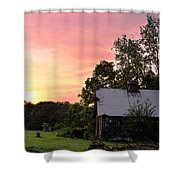 New Jersey Barn Sunset Shower Curtain