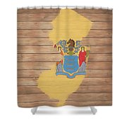 New Jersey Rustic Map On Wood Shower Curtain