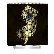 New Jersey Typographic Map 02 Shower Curtain