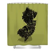 New Jersey Typographic Map 4a Shower Curtain
