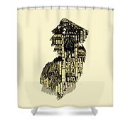 New Jersey Typographic Map 4d Shower Curtain