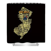 New Jersey Typographic Map 4g Shower Curtain