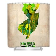 New Jersey Watercolor Map Shower Curtain