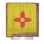 New Mexico Rustic Map On Wood Shower Curtain
