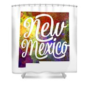 New Mexico Us State In Watercolor Text Cut Out Shower Curtain
