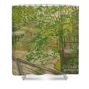 New Mills And Reflection Of Spring Shower Curtain