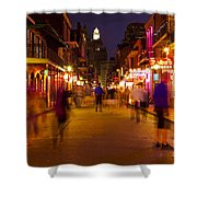 New Orleans, Bourbon Street At Night Shower Curtain by Bryan Mullennix