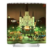 New Orleans Night Photo - Saint Louis Cathedral Shower Curtain