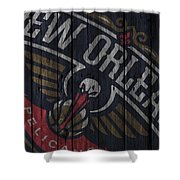 New Orleans Pelicans Wood Fence Shower Curtain