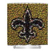 New Orleans Saints  Bottle Cap Mosaic Shower Curtain by Paul Van Scott