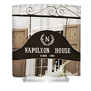 New Orleans Sign - Napoleon House - Sepia Shower Curtain