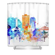 New Orleans Watercolor Skyline Shower Curtain