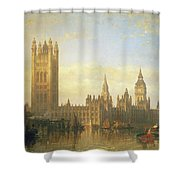 New Palace Of Westminster From The River Thames Shower Curtain by David Roberts