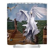 New Point Egret Shower Curtain