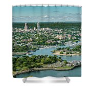 New Rochelle From The Long Island Sound Shower Curtain
