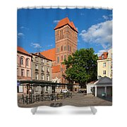 New Town Square In Torun Shower Curtain