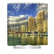 Ala Wai Harbor Waikiki Yacht Club Honolulu Hawaii Collection Art Shower Curtain