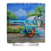 Oistins Rooster Shower Curtain