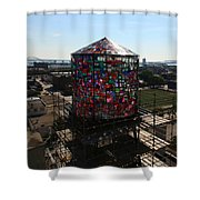 Stained Glass Water Tower In Milwaukee Shower Curtain