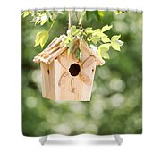 New Wooden Birdhouse Hanging On Tree Branch Outdoors  Shower Curtain