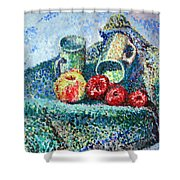 New Work Painted In Pointillism  Shower Curtain