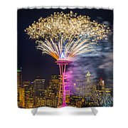 New Year Fireworks - Seattle Shower Curtain