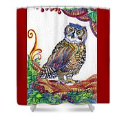 New-year Owl Shower Curtain