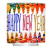 New Year's Greetings Shower Curtain