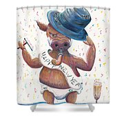 New Years Hog Shower Curtain