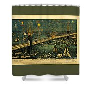 New York And Brooklyn Bridge Opening Night Fireworks Shower Curtain