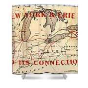 New York And Erie Railroad Map 1855 Shower Curtain