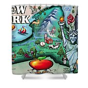 New York Cartoon Map Shower Curtain
