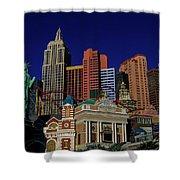 New York Casino At Night Shower Curtain