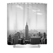 New York City - Empire State Building Panorama Black And White Shower Curtain