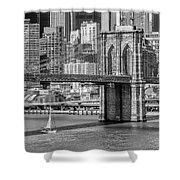 New York City Brooklyn Bridge And East River Shower Curtain