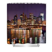 New York City Brooklyn Bridge And Lower Manhattan At Night Nyc Shower Curtain