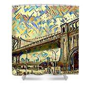 New York City - Brooklyn Bridge Watercolor Shower Curtain