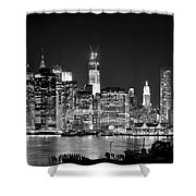 New York City Bw Tribute In Lights And Lower Manhattan At Night Black And White Nyc Shower Curtain