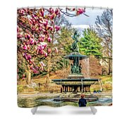 New York City Central Park Bethesda Fountain Blossoms Shower Curtain