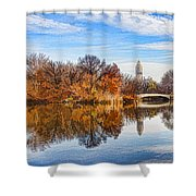 New York City Central Park Bow Bridge - Impressions Of Manhattan Shower Curtain