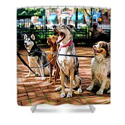 New York City Dog Walking Shower Curtain