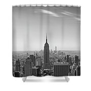 New York City - Empire State Building Panorama Black And White - 2015 Edition Shower Curtain