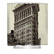 New York City - Flatiron In Sepia Shower Curtain