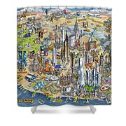New York City Illustrated Map Shower Curtain