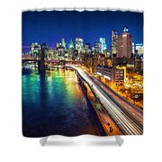 New York City Lights Blue Shower Curtain